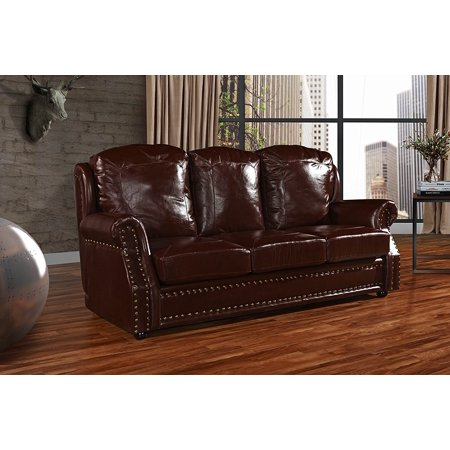 Leather Sofa 3 Seater, Living Room Couch with Nailhead Trim (Dark ...