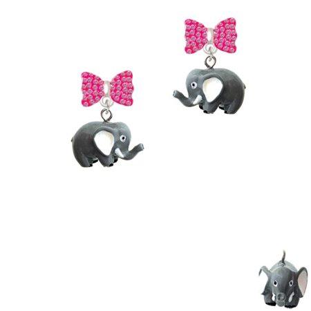 Resin Elephant Hot Pink Bella Bow Crystal Earrings