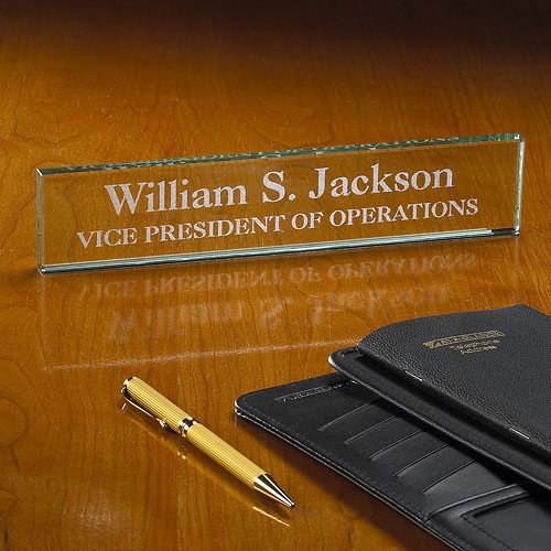 Personalized Executive Beveled Glass Desk Nameplate, Engraved