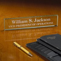 Personalized Executive Glass Nameplate