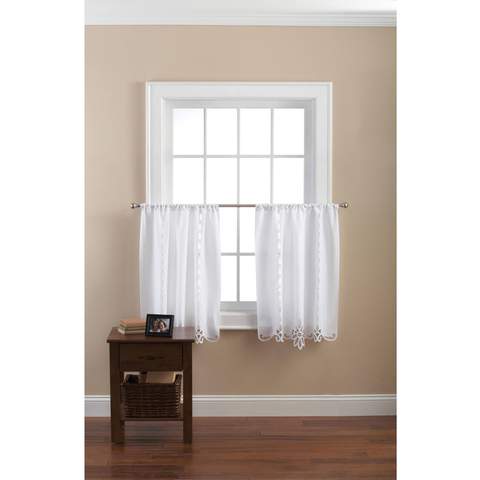 Mainstays Battenburg White Lace Kitchen Curtains, Set Of 2