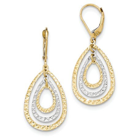 14K Two Tone White & Yellow Gold Diamond Cut Leverback Earrings (1.6IN Long x 0.6IN Wide)