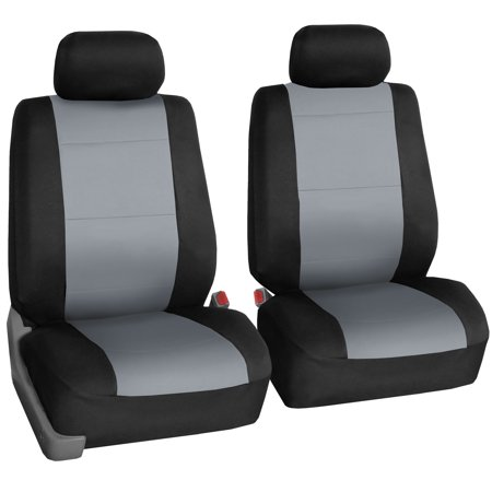 FH Group Neoprene Seat Covers for Sedan, SUV, Truck, Van, Two Front Buckets, Gray Black