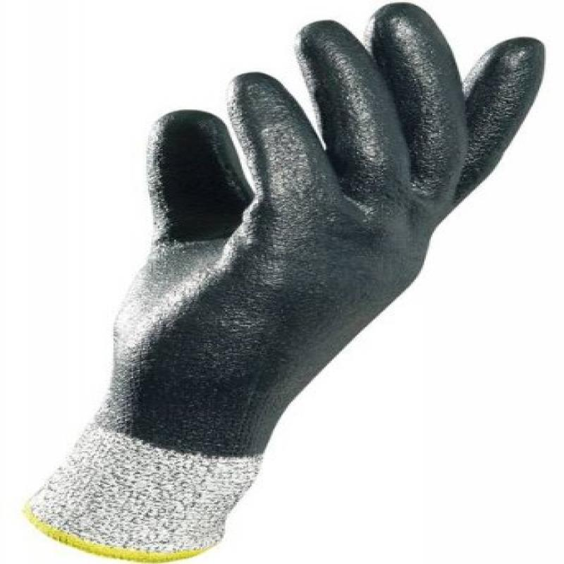 "MAPA Krynit 559 Nitrile Heavy Duty Gloves, Cut Resistant, 9-1/2"" Length, Size 10, Black"