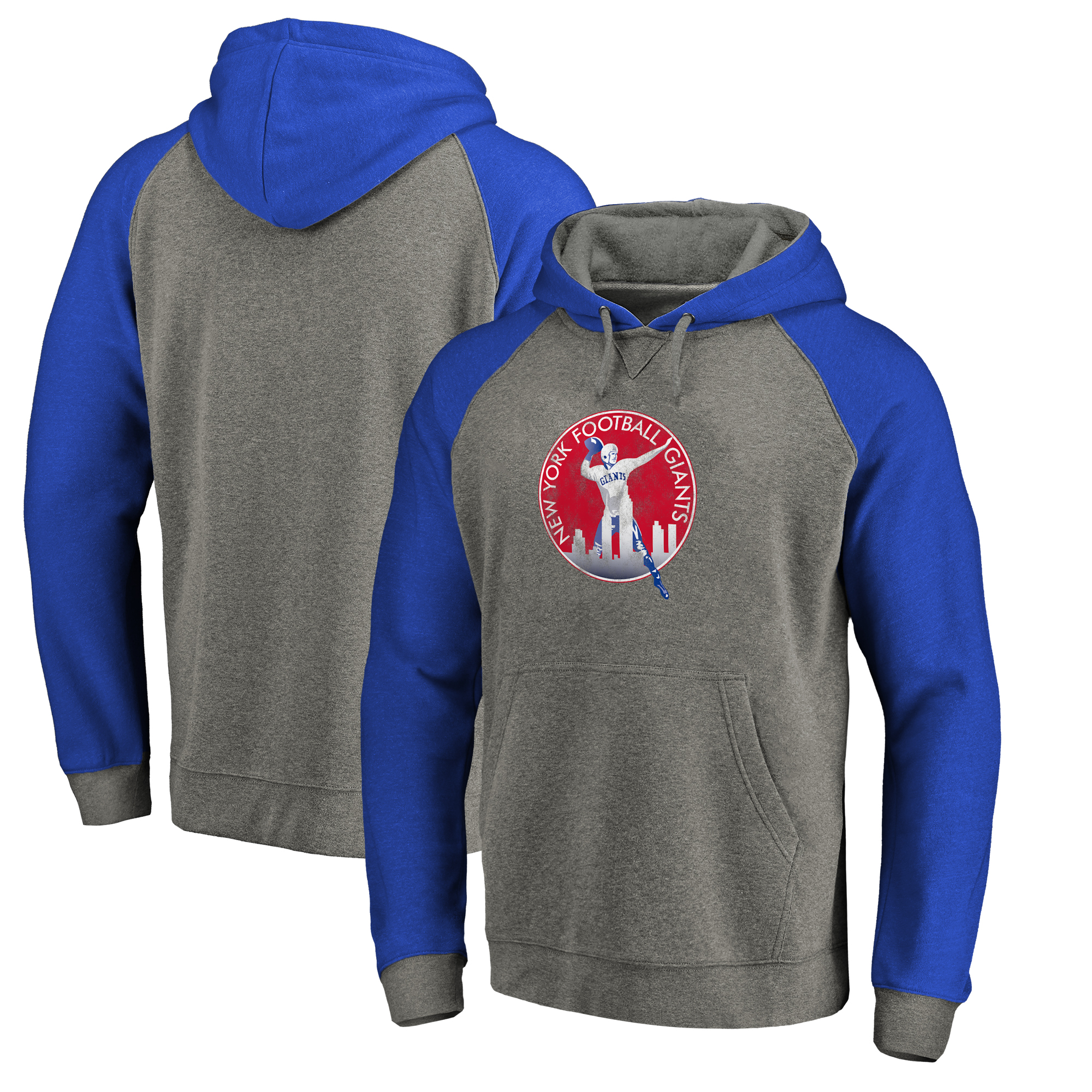 New York Giants NFL Pro Line by Fanatics Branded Throwback Logo Tri-Blend Raglan Pullover Hoodie - Gray/Royal