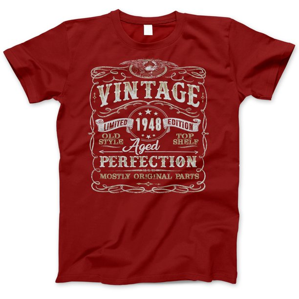 71st Birthday Gift T-Shirt - Born In 1948 - Vintage Aged 71 Years Perfection - Short Sleeve - Mens - Red - Large T Shirt - (2019 Version)
