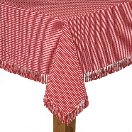 Lintex Linens Homespun Check 100% Cotton Woven Fringed Tablecloth 52