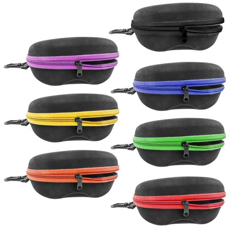 InnoLife Set of 7pcs in Mixed Colors, Zipper Shell Sunglasses Glasses Case with Belt Loop, Clip, Plastic Carabiner Hook for $<!---->