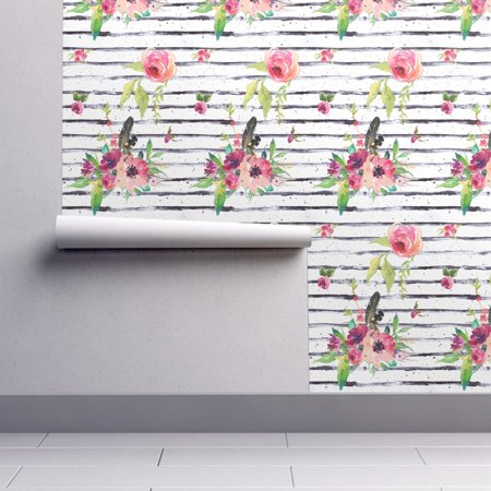 Wallpaper Roll Stripes Floral Flowers Black And White Roses Pink 24in x -