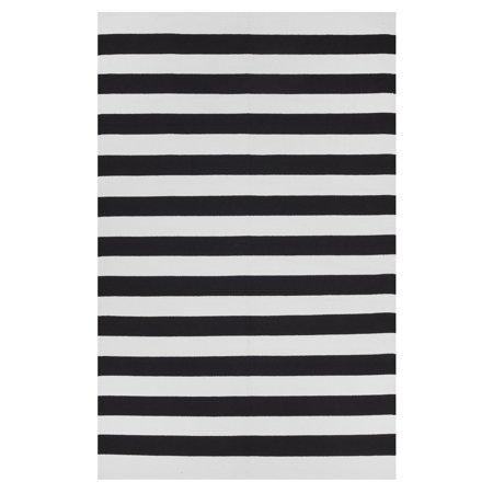 Nantucket White Toy - Fab Habitat Indo Hand-woven Nantucket Black/ White Contemporary Stripe Area Rug (5' x 8')