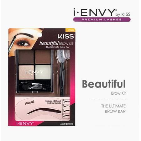 Kiss Beautiful Brow Kit - Dark Brown, 2 Brow Colors, Highlighter, Wax, Razor, 4 Brow Shape Stencils By i.Envy