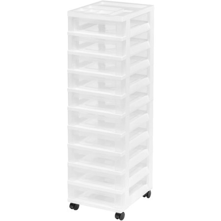 Iris 10 Drawer Rolling Storage Cart With Organizer Top White