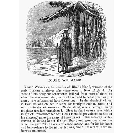 Roger Williams  1603 1683  Ncleric And Founder Of The Colony Of Rhode Island Wood Engraving American 1853 Rolled Canvas Art     18 X 24