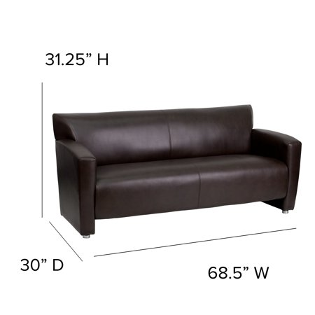 Flash Furniture Brown LeatherSoft Sofa with Extended Panel Arms