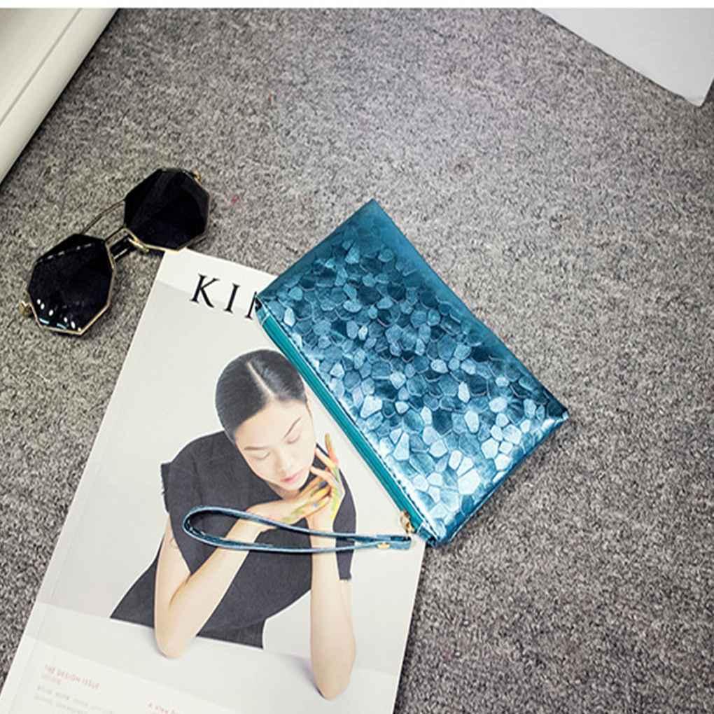 Stone Pattern Handbag PU Leather Zipper Bling Long Purse Wallet Makeup Bag Phone Bag