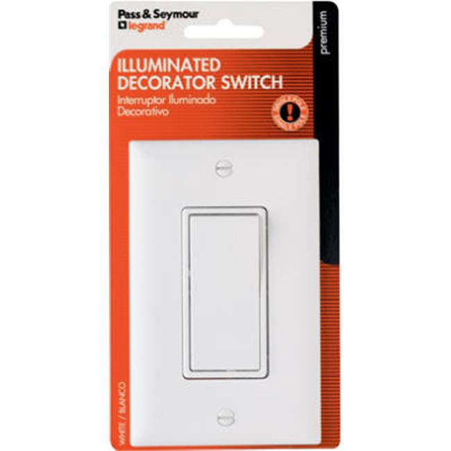Pass & Seymour TM870WSLCCC5WP Single-Pole Premium Decorator Lighted Switch, White