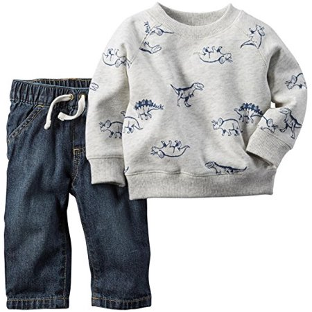 Carter's Baby Boys' 2 Piece Dino Top with Faux Denim Pant, Newborn