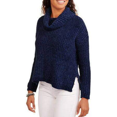 Juniors' Chenille Mock Neck Sweater