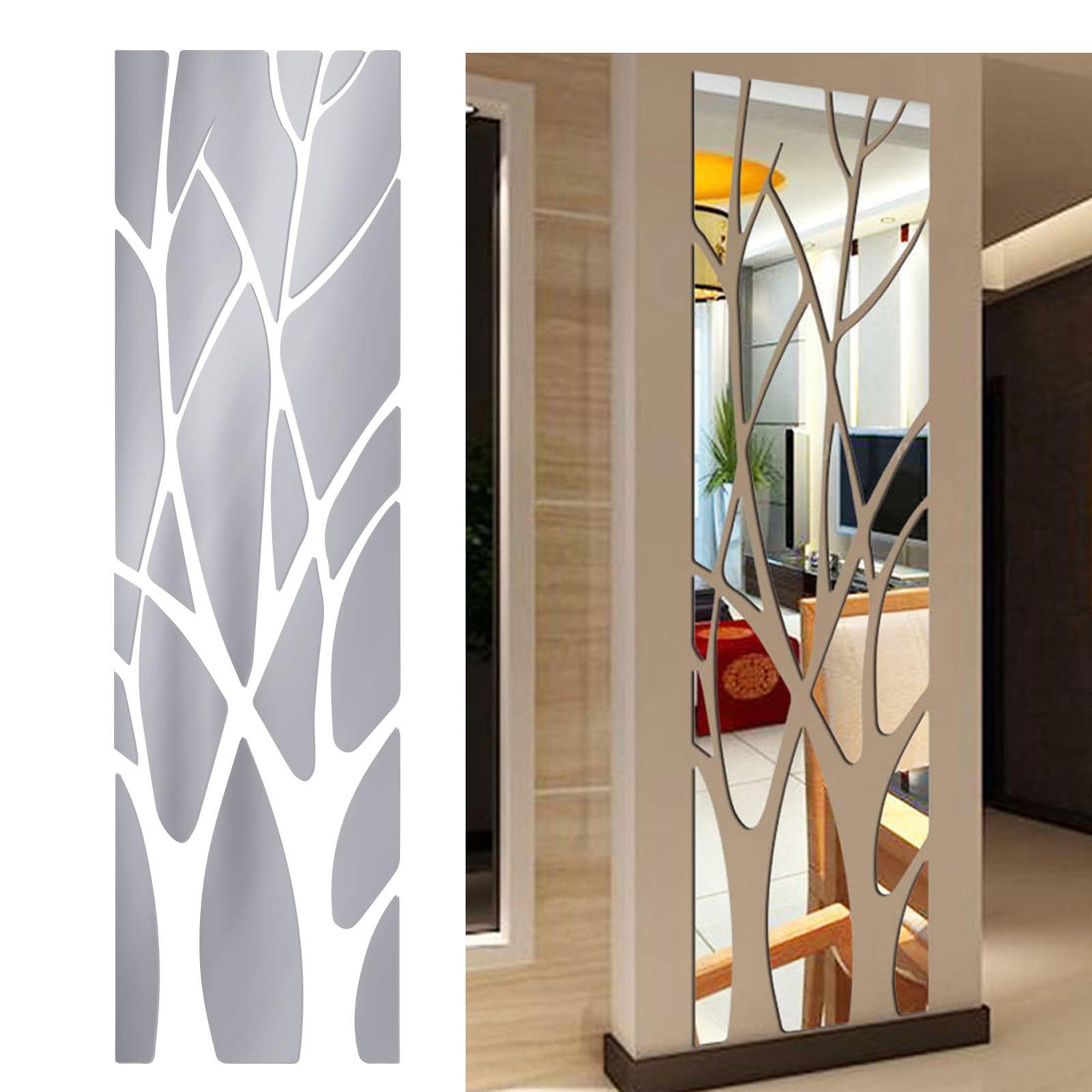 Small Mirror Tiles Glass Wall Stickers Self Adhesive Reflective Bathroom Mosaic