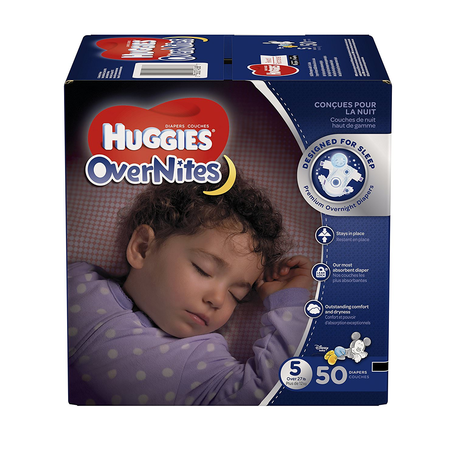 HUGGIES OverNites Diapers, Size 5 for over 27 lbs., Pack of 50 Overnight Baby Diapers