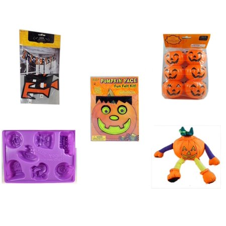 Halloween Fun Gift Bundle [5 Piece] - Trick or Treat Banner 42.5 x 5 Inches - Party Favors Pumpkin Candy Containers 6 Count - Darice Pumpkin Face Fun Felt Kit - Frankenstein - Happy  Jell-O Mold - P