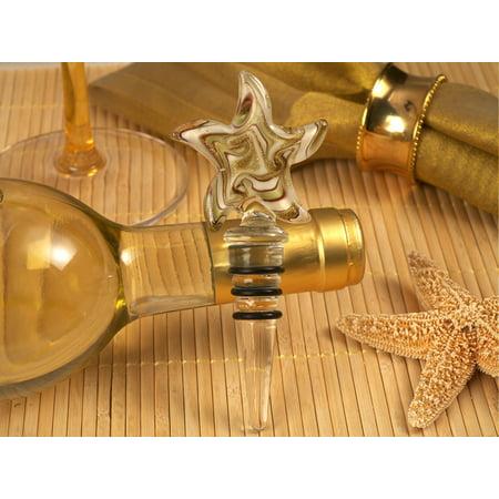 Murano art deco starfish design stopper gold and white colors
