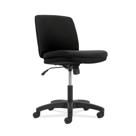 - HON Network Series Low-Back Task Chair- Armless Computer Chair for Office Desk , Black Fabric (HVL281)