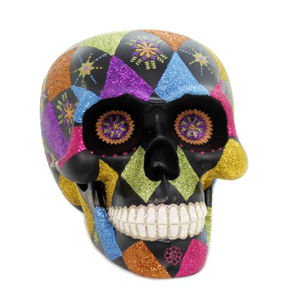 Shiny Brite DAY  OF THE DEAD SKULL Polyresin Halloween 4027557 (Shiny Brite Halloween)