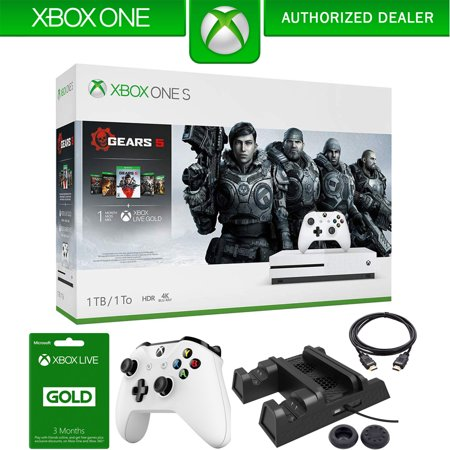 Microsoft Xbox One S 1TB Console with Gears Of War 5 Bundle with Xbox Wireless Controller, Xbox Live 3 Month Gold Membership, Deco Gear Joystick Thumb Grips, 3-in-1 Vertical Stand and HDMI Cable ()