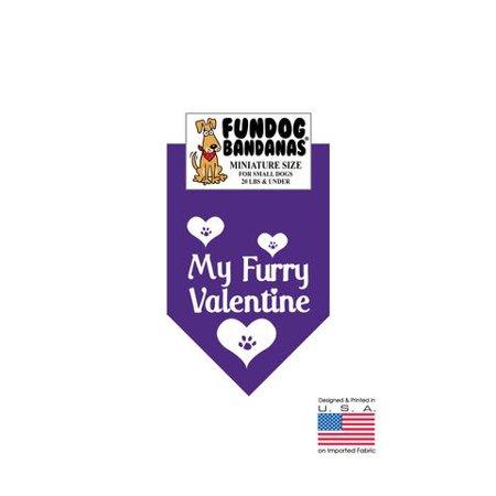 MINI Fun Dog Bandana - My Furry Valentine - Miniature Size for Small Dogs under 20 lbs, purple pet scarf ()