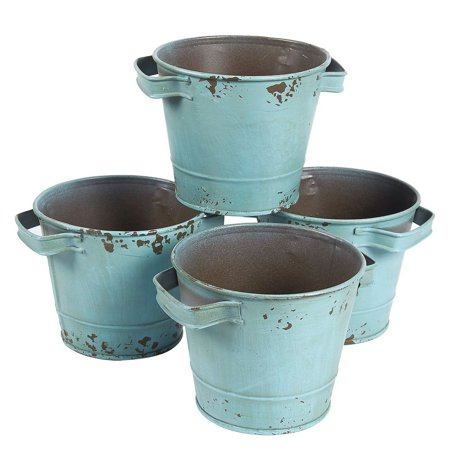 Image of 4-Set Vintage Galvanized Planter Buckets - Garden Bucket with Handles, Galvanized Metal Pail, Ideal for Planting, Decoration, Storage, Green, 4.7 x 3.7 inches