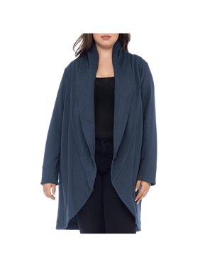 Bobeau Womens Plus Quilted Long Sleeves Shawl-Collar Sweater Navy 2X