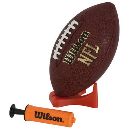 Wilson NFL Composite Leather Junior Football with Pump and Tee](Foot Balls)