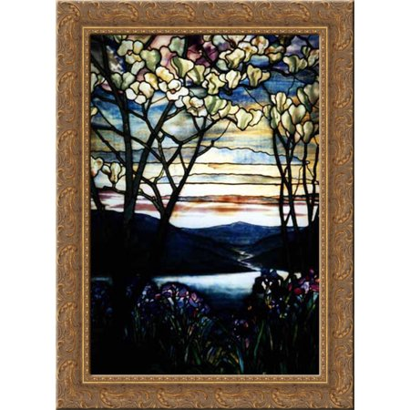 Magnolias and Irises 19x24 Gold Ornate Wood Framed Canvas Art by Tiffany, Louis (Magnolias And Irises By Louis Comfort Tiffany)