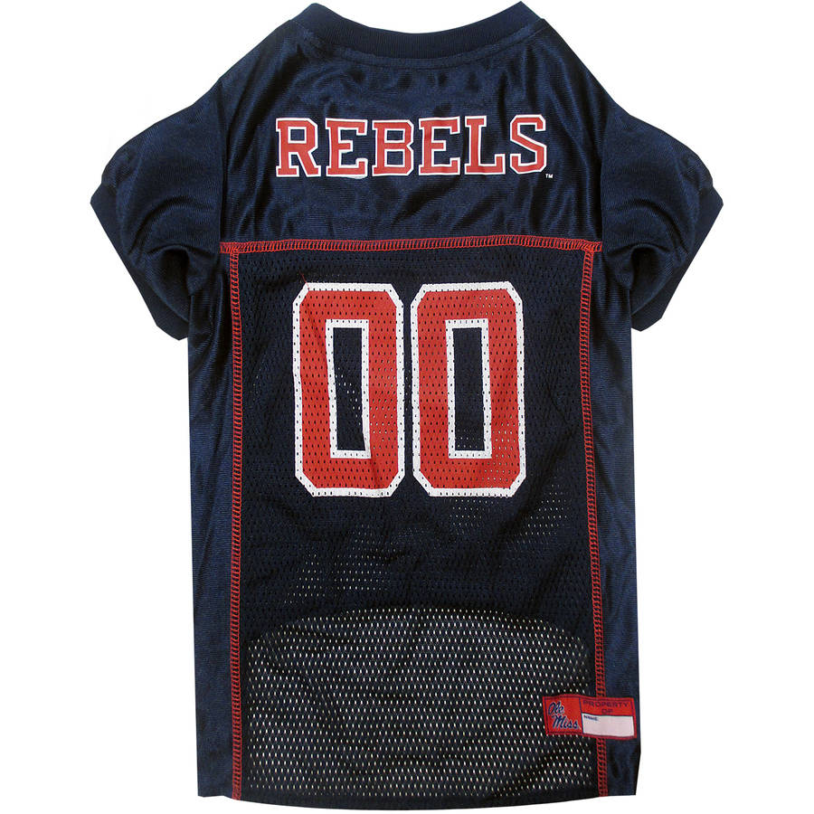 Pets First College Mississippi Rebels Collegiate Dog Jersey, Available in Various Sizes