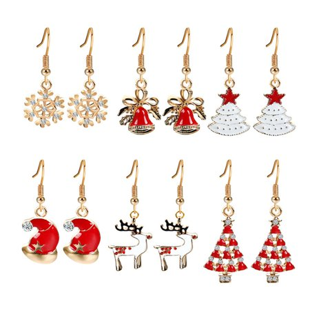 Heepo 6Pair/Set Christmas Tree Deer Ear Hook Fashion Women Earrings Jewelry Gift