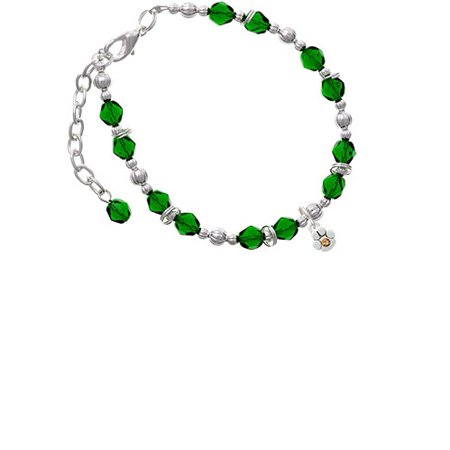 Silvertone Mini Paw with Yellow Crystal Green Beaded Bracelet