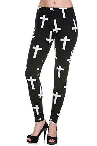 Juniors' Leggings Brushed Vintage Cross Print Knit Ankle Pants One Size