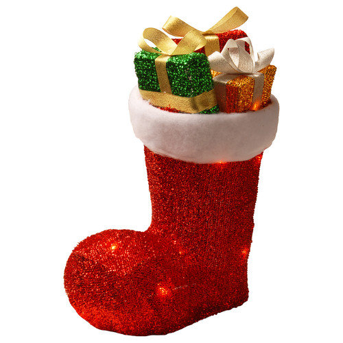 National Tree Co. Santa Boot with Gifts and 10 Clear Lights