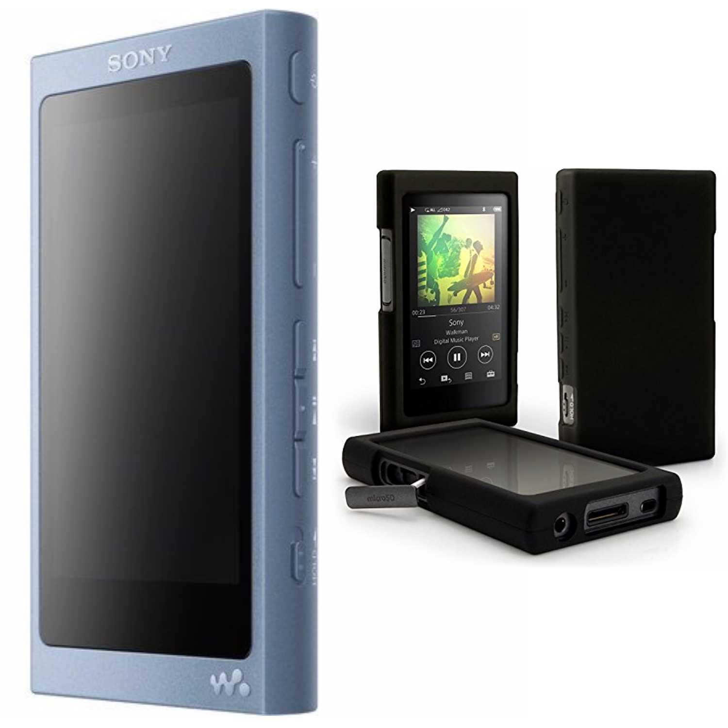 Sony 16GB Walkman with High-Resolution Audio (Blue) with Silicone Case Bundle