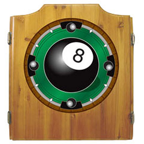 8-Ball Dart Cabinet with Darts and Board