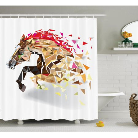Horse Shower Curtain Set Disappearing Wild Horse In Digital Polygonal Geometric Modern Design