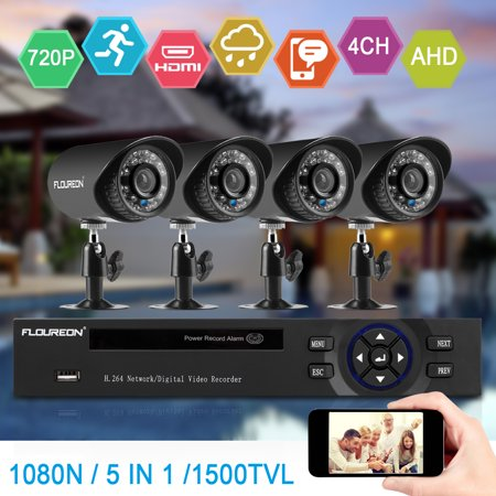 FLOUREON Home Security Camera, 4CH 1080N AHD DVR + 4 X Outdoor 1500TVL 720P Bullet Security Servalance Cameras Night Version -