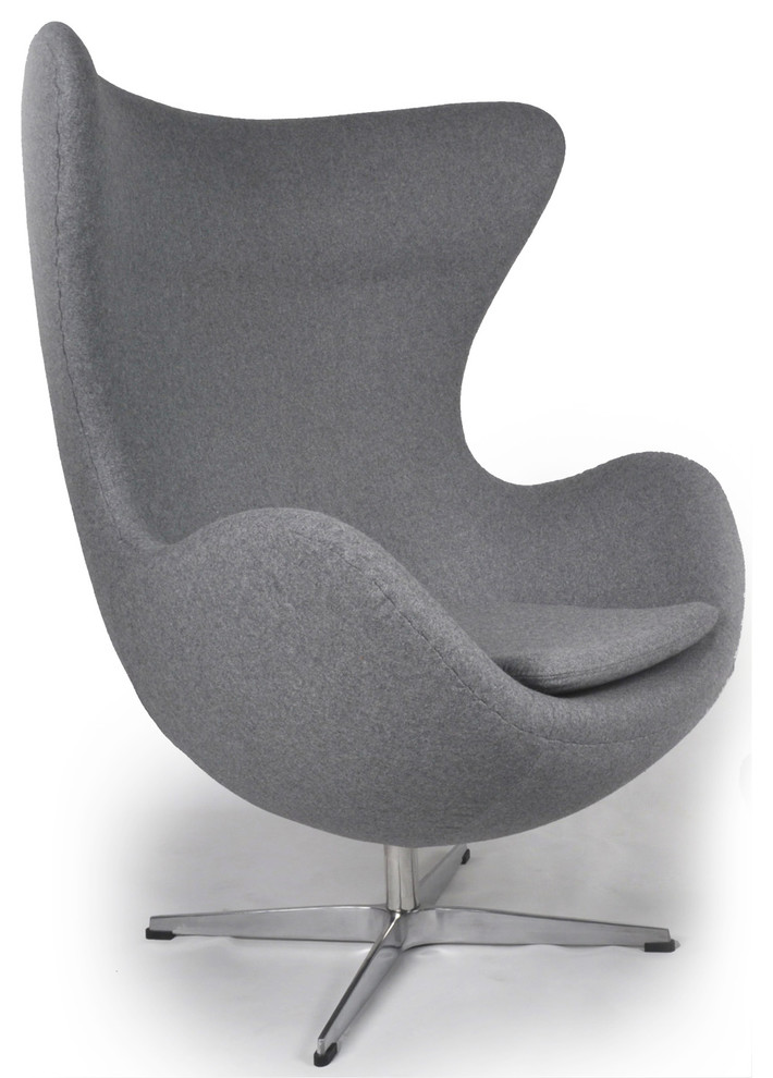 De Egg Chair.Kardiel Cashmere Wool Upholstery Egg Chair Cadet Gray Tweed