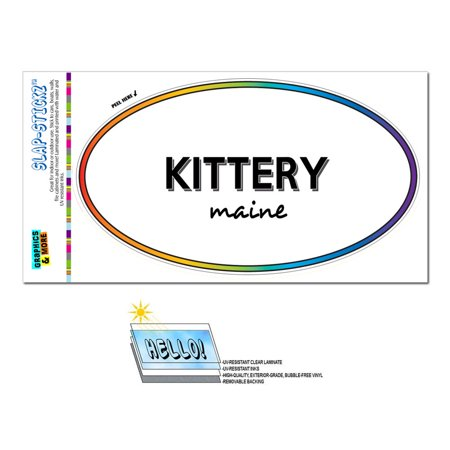 Kittery, ME - Maine - Rainbow - City State - Oval Laminated Sticker