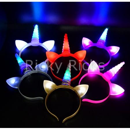 12 Light Up Unicorn Headbands Flashing Ears Costume Horn Kids Magical Recuerdos Unicornio - Diy Unicorn Horn