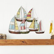 """Decmode - Striped Red, Yellow, Blue Metal Sailboat Wall Decor, 33"""" x 26"""""""