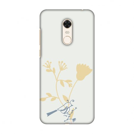 Birdie Note (Xiaomi Redmi Note 5 Case - The doodle birdie- Grey, Hard Plastic Back Cover, Slim Profile Cute Printed Designer Snap on Case with Screen Cleaning Kit)