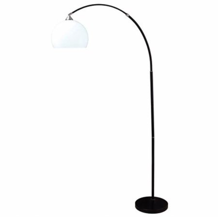 76 in. Modern Black Arc Floor Lamp On Black Marble -