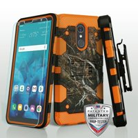 Phone Case for LG Stylo 4 Phone Case Combo TUFF Hybrid Impact Armor Rugged Rubber Hard Protective Cover Belt Clip Holster with Screen Protector - Vine Orange